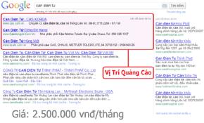 Bảng giá quảng cáo google VIP từ 1-4